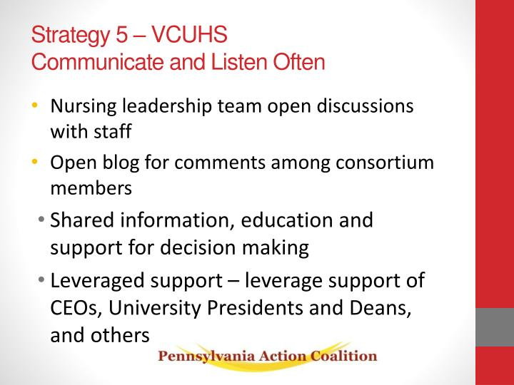 Strategy 5 – VCUHS