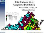 total indigent care geographic distribution