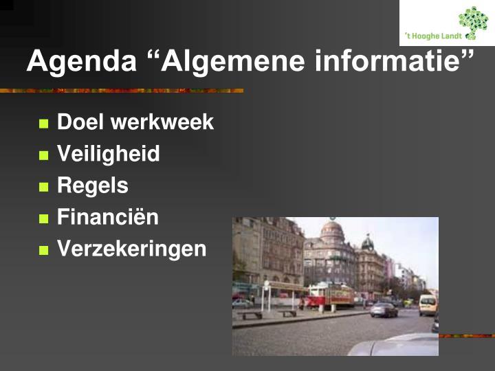 """Agenda """"Algemene informatie"""""""