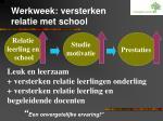 werkweek versterken relatie met school