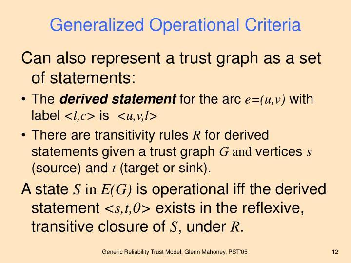 Generalized Operational Criteria