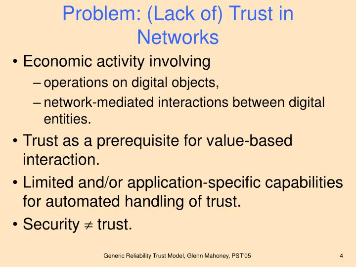 Problem: (Lack of) Trust in Networks