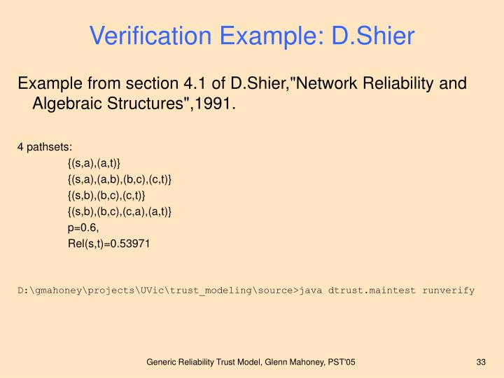 Verification Example: D.Shier