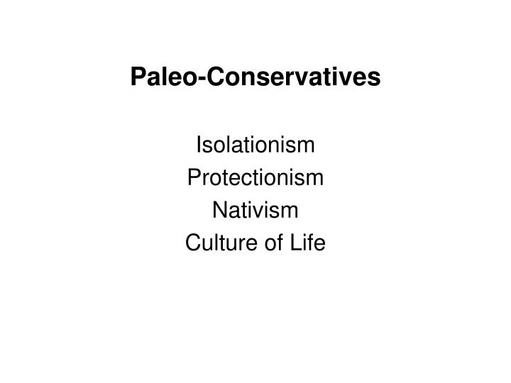 Paleo conservatives