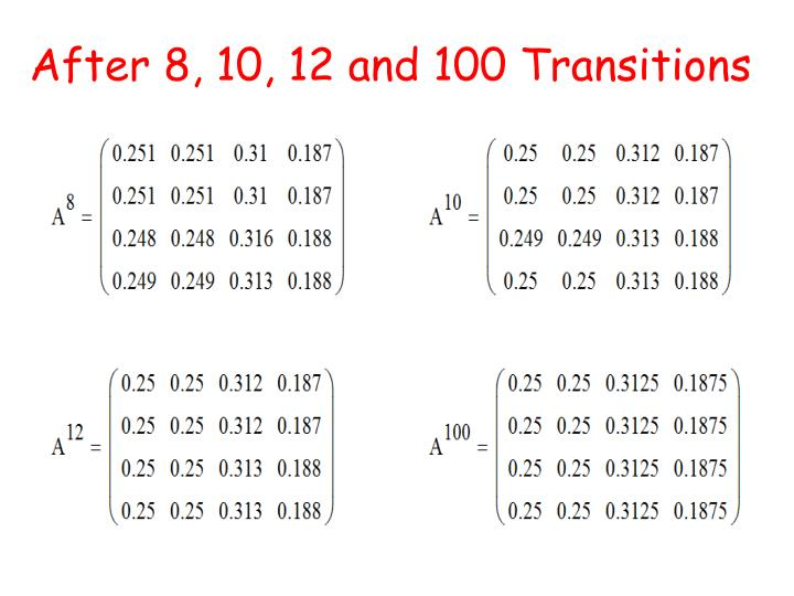 After 8, 10, 12 and 100 Transitions