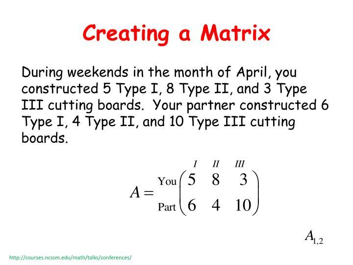Creating a Matrix