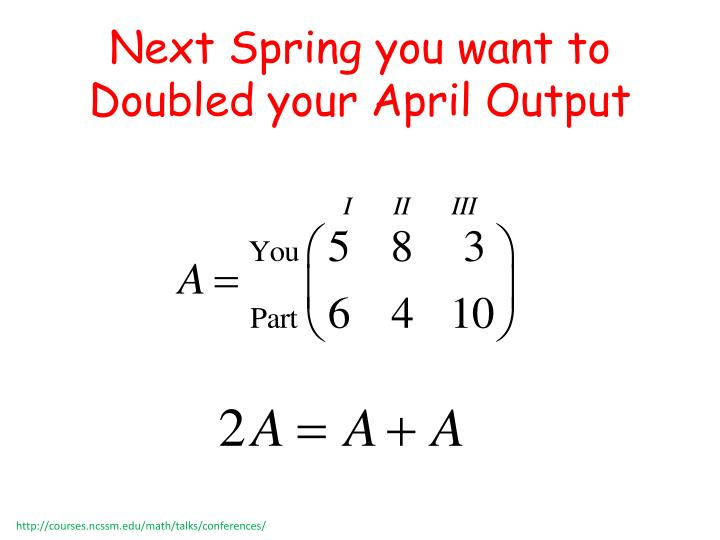 Next Spring you want to  Doubled your April Output