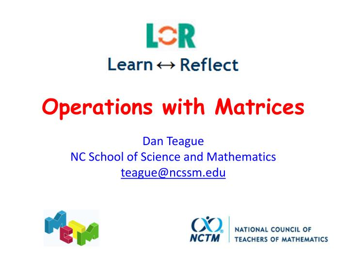 Operations with Matrices