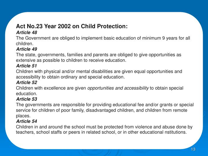 Act No.23 Year 2002 on Child Protection