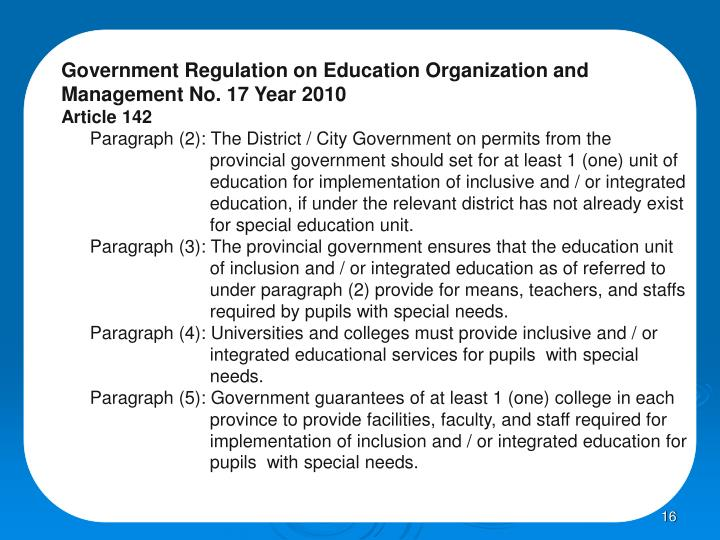 Government Regulation on Education Organization and Management