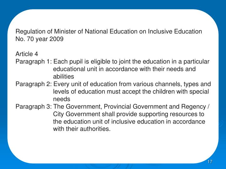 Regulation of Minister of National Education on Inclusive Education
