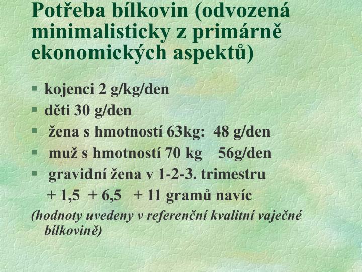 Potřeba bílkovin (odvozená minimalisticky z primárně ekonomických aspektů)