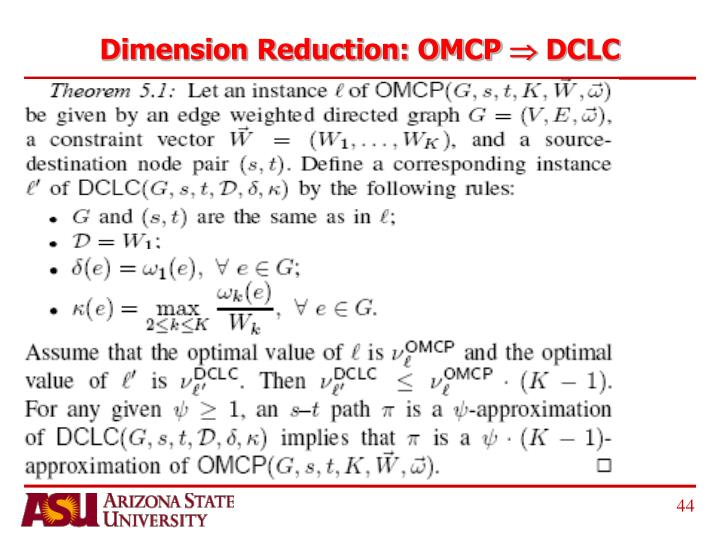 Dimension Reduction: OMCP