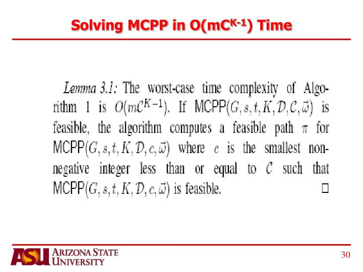 Solving MCPP in O(mC