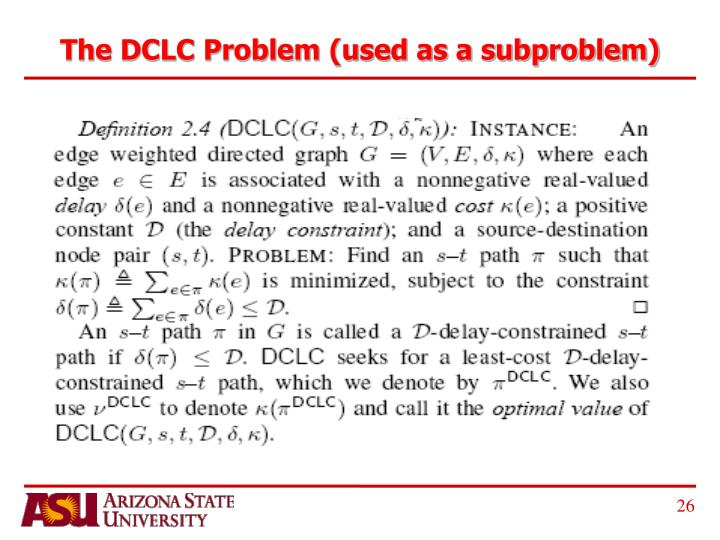 The DCLC Problem (used as a subproblem)