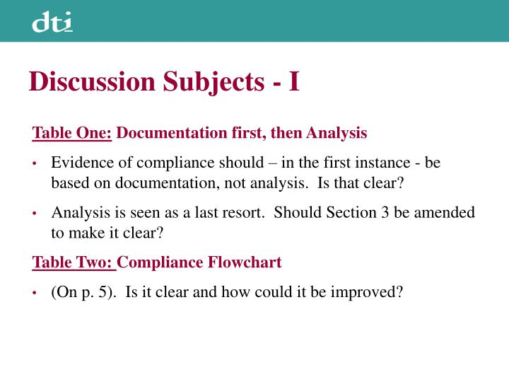 Discussion Subjects - I