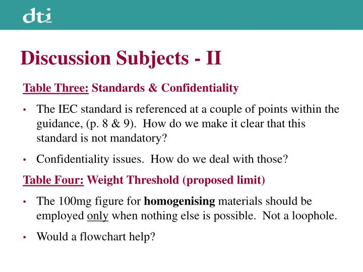 Discussion Subjects - II