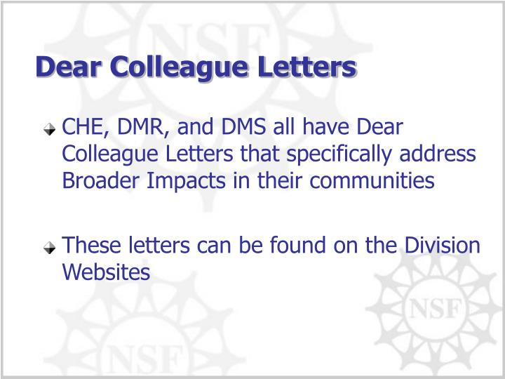 Dear Colleague Letters