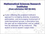 mathematical sciences research institutes from solicitation nsf 08 565