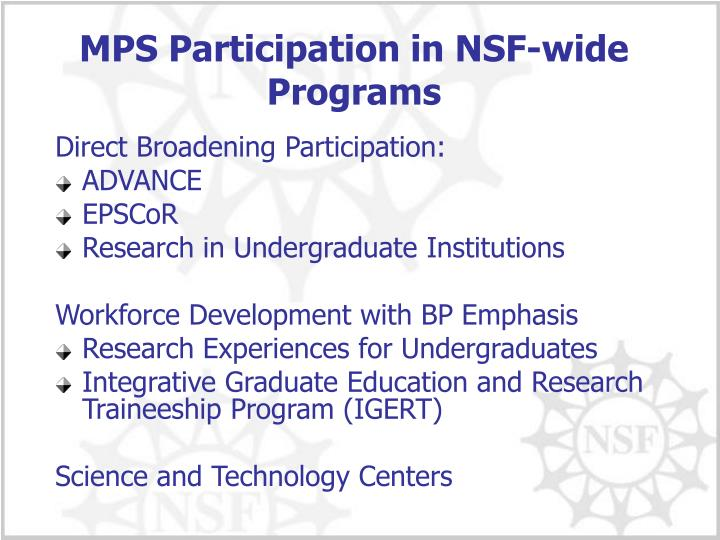 MPS Participation in NSF-wide Programs