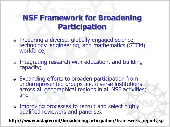 NSF Framework for Broadening Participation