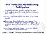 nsf framework for broadening participation