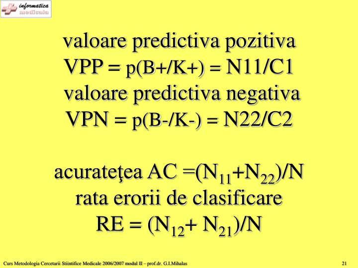 valoare predictiva pozitiva