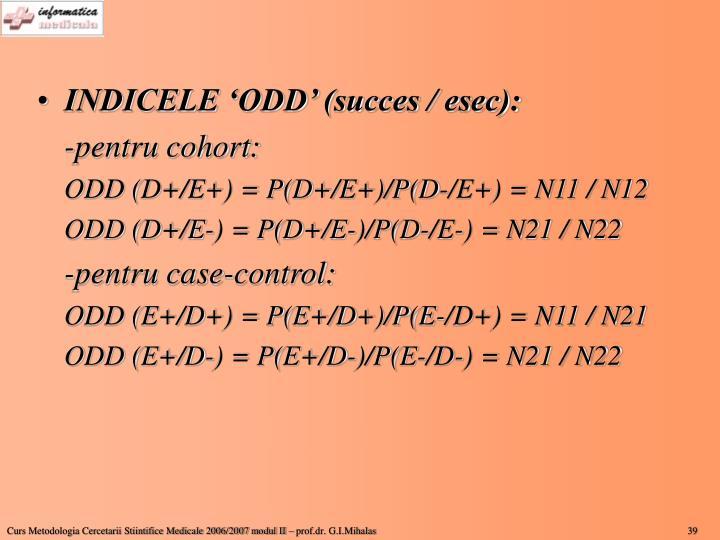 INDICELE 'ODD' (succes / esec):