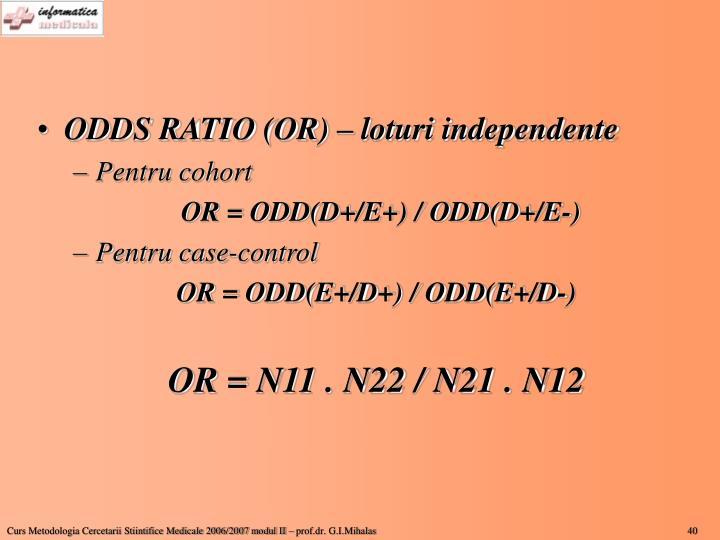 ODDS RATIO (OR) – loturi independente