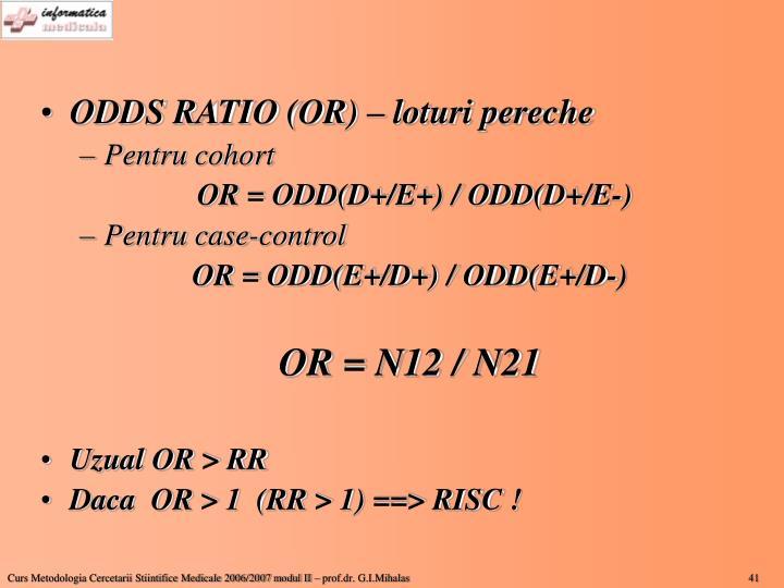ODDS RATIO (OR) – loturi pereche