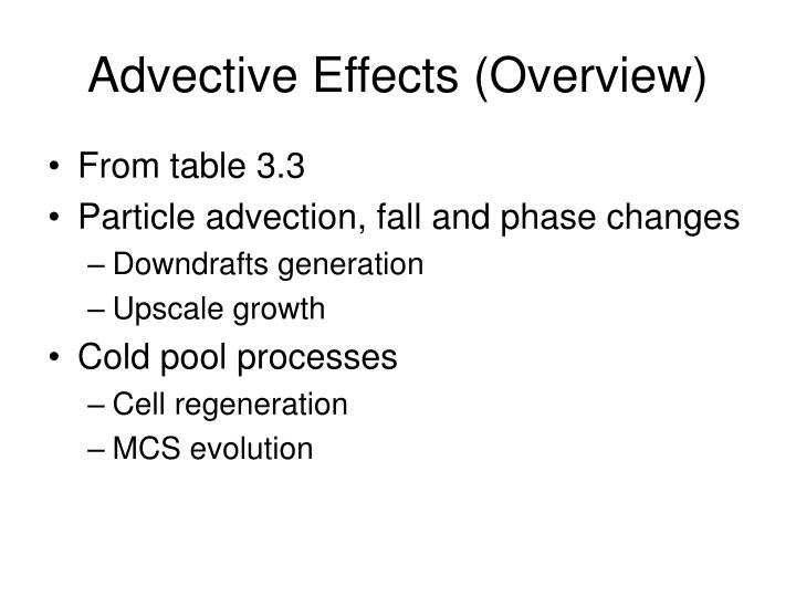 Advective Effects (Overview)