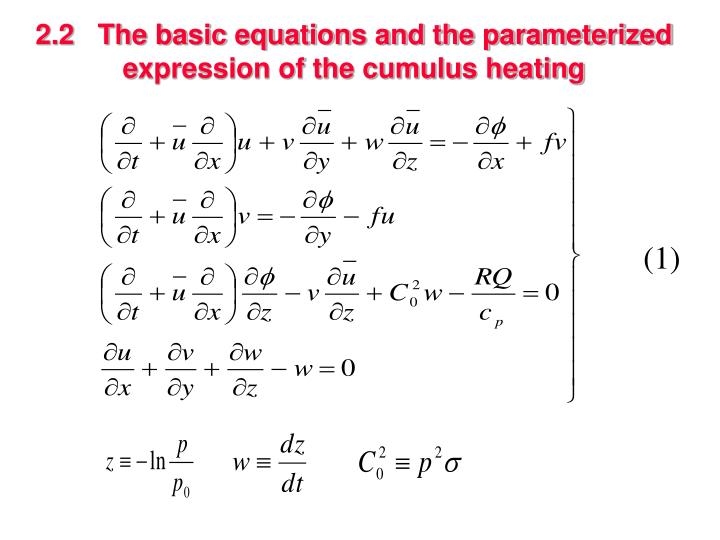 2.2   The basic equations and the parameterized