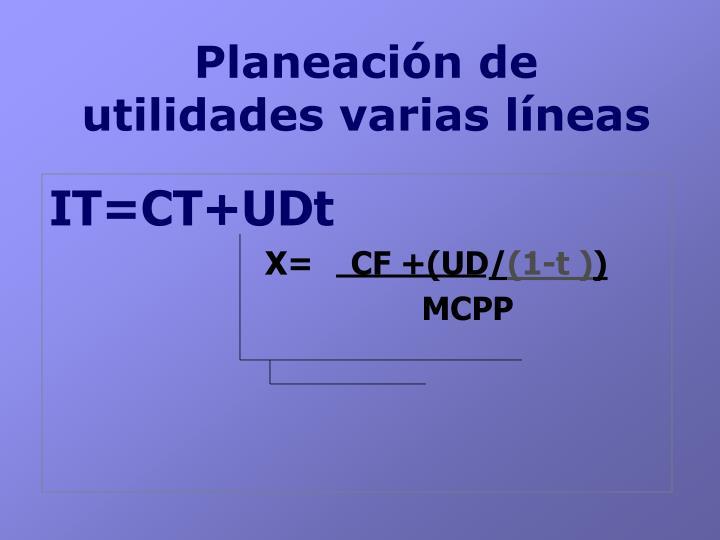 Planeación de utilidades varias líneas