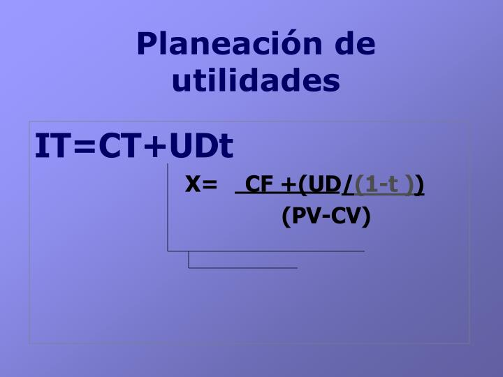 Planeación de utilidades