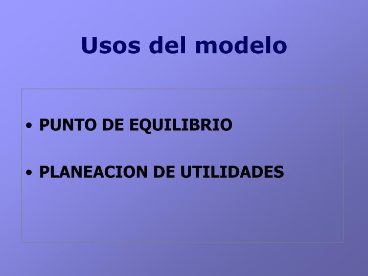 Usos del modelo
