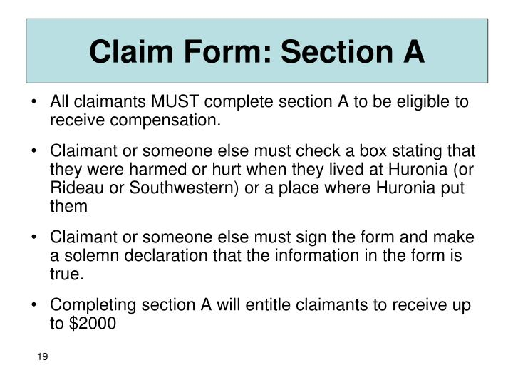 Claim Form: Section A