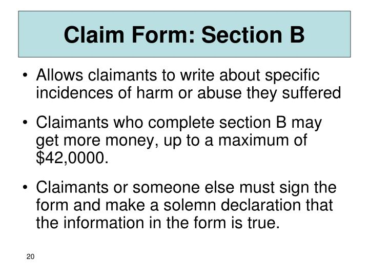 Claim Form: Section B