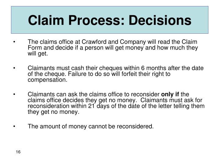 Claim Process: Decisions