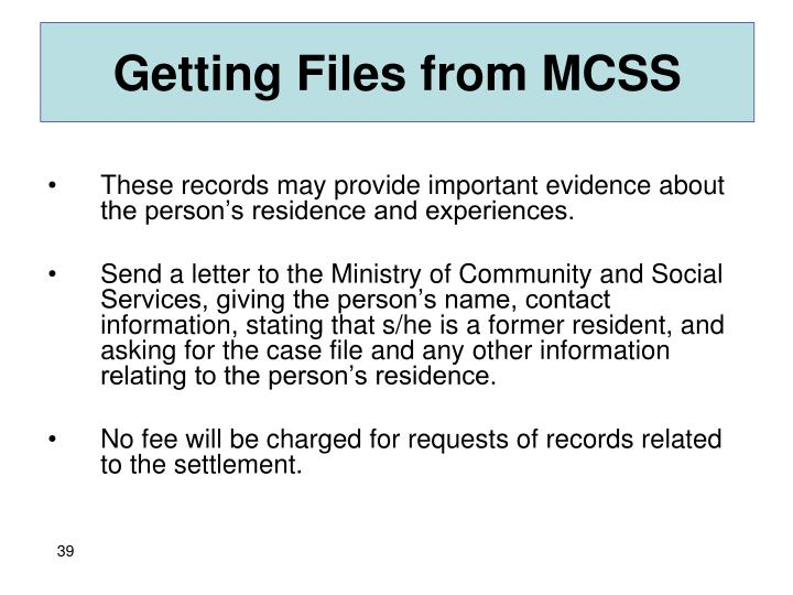 Getting Files from MCSS