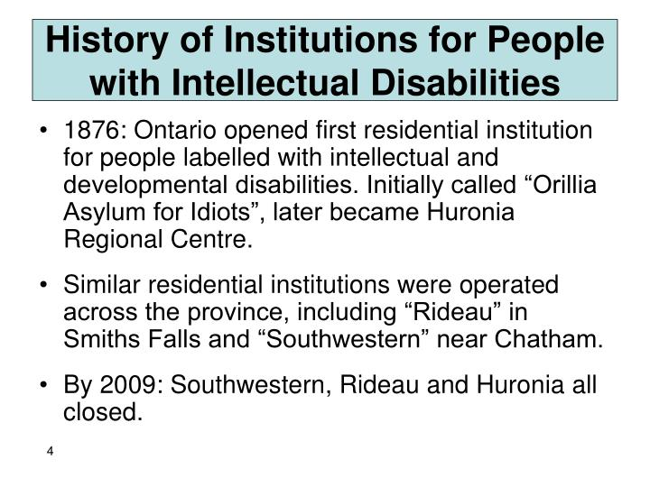 History of Institutions for People with Intellectual Disabilities