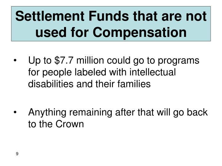 Settlement Funds that are not used for Compensation