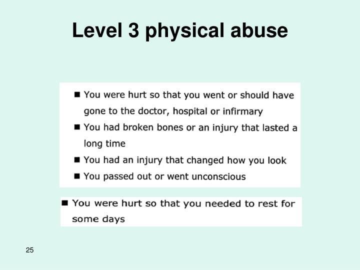 Level 3 physical abuse