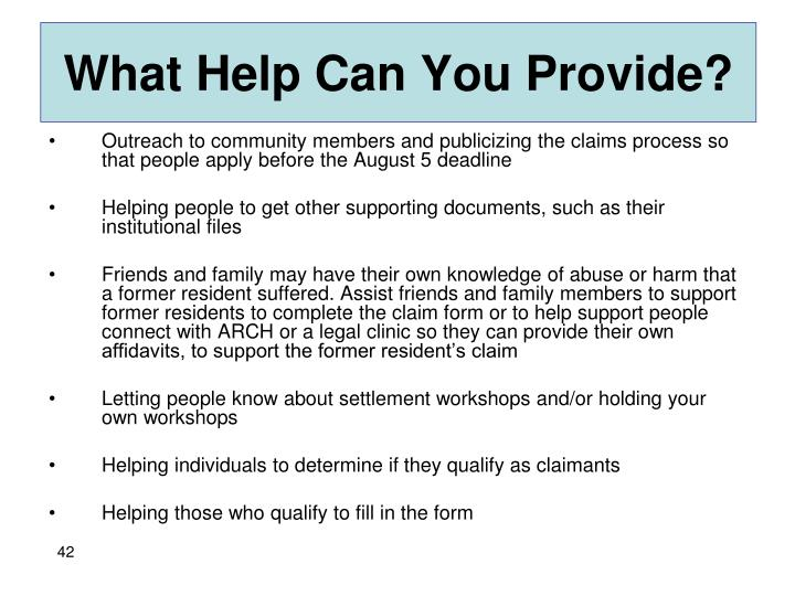 What Help Can You Provide?