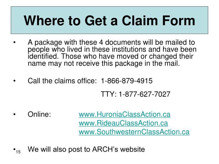 Where to Get a Claim Form