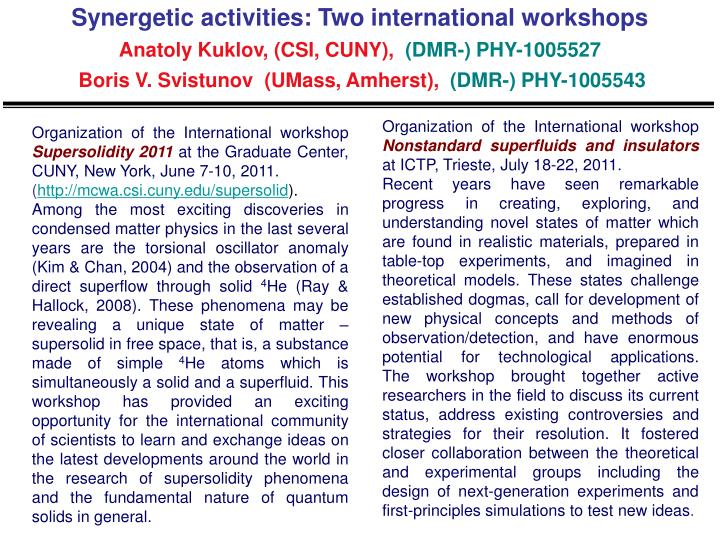 Synergetic activities: Two international workshops