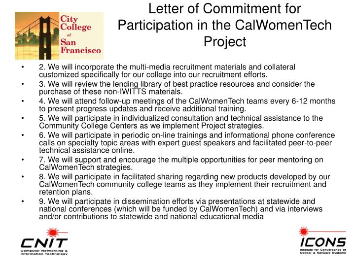 Letter of Commitment for Participation in the CalWomenTech Project