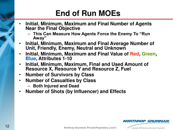 Initial, Minimum, Maximum and Final Number of Agents Near the Final Objective