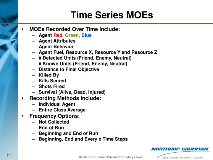MOEs Recorded Over Time Include: