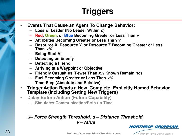 Events That Cause an Agent To Change Behavior: