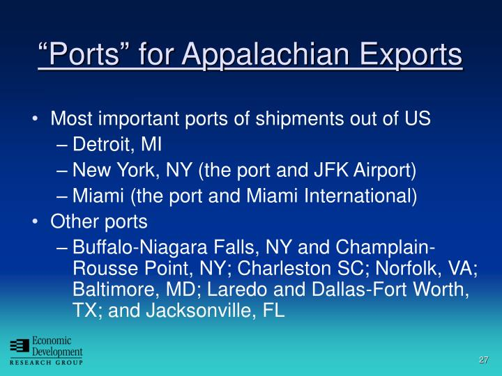 """Ports"" for Appalachian Exports"